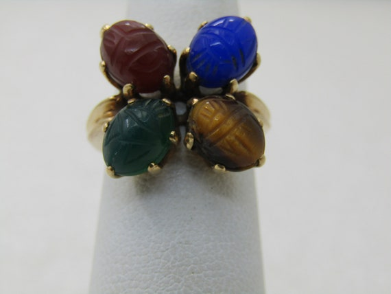 Vintage Egyptian Revival 14kt Scarab Ring, Sz. 3.75, 4 Scarabs