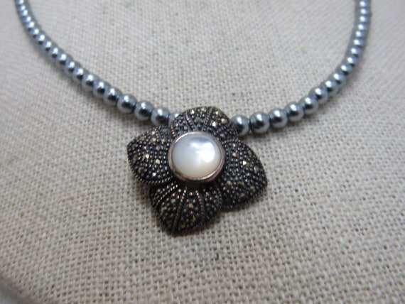 Vintage Sterling Marcasite & Mother-of-Pearl Necklace, 17""
