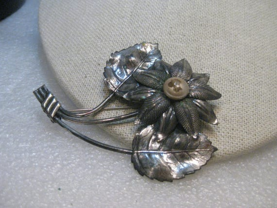 Vintage 1940's Sterling Silver Floral  Brooch with Center Pearl, two leaf stems, 3""