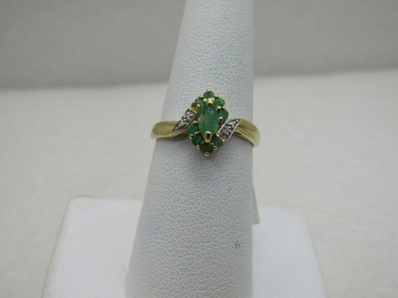 Vintage 10kt Natural Emerald & Diamond Ring, Sz. 7.5. Signed with Heart
