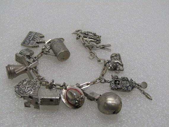 "Vintage 800 & 835 Silver Charm Bracelet, Western Europe, 7"", 39.62 grams, Mid-Century, Germany, France, Holland, UK"