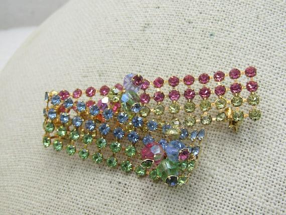 "Vintage  Rhinestone Curled Ribbon Brooch, Pastel Multi-Row, 2.5"", 1960's"