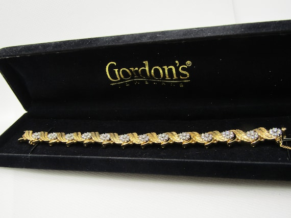 "Vintage Jabel 18KT Diamond Cluster Leaf Tennis Bracelet, 6.5"", 10.5mm Wide"