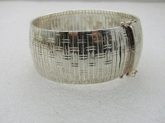 Sterling Silver Woven Omega Bracelet, Signed LIRM, Italy.  29.5mm, 7.25""
