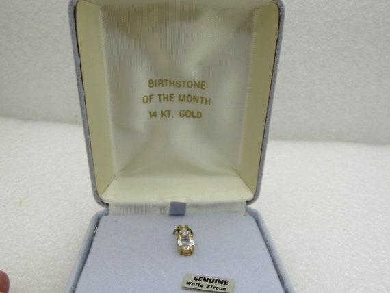 14kt White Zircon Birthstone Pendant, Diamond Chip.  1.2CTW