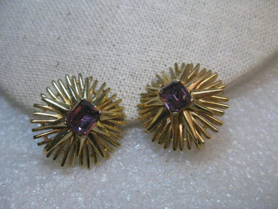 "Crown Trifari Sunburst Clip Earrings, Purple Stones, 1"", Runway/Statement Earrings"