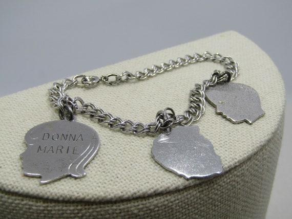 """Vintage Sterling Silver Charm Bracelet, 3 Children 7"""", Double Link, 5mm, 1960's"""
