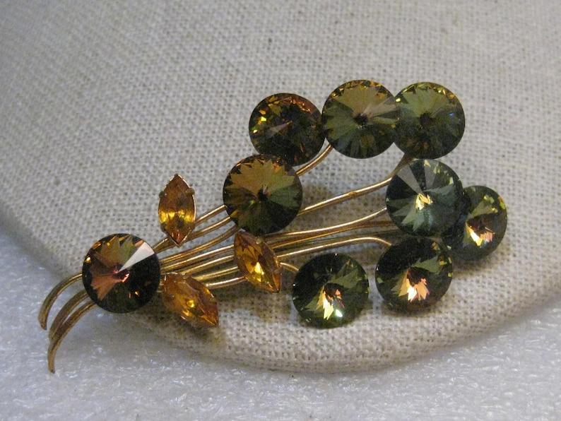 2.75 1940/'s-1950/'s Amber Marquis Leaves Stem Vintage Green Rivoli Floral Brooch