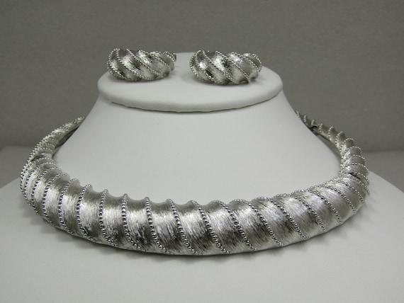 Vintage Monet Silver Tone Necklace Hoop Earrings Set, 1960's-1970's