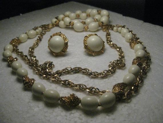 Vintage Crown Trifari Multi-Strand Demi Parure, 3 Pc. Set, Necklace/Bracelet/Clip Earrings