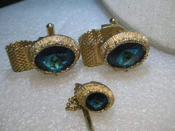 Vintage Swank Rivoli Cuff Link Set, Wrap-Around with Tie Tack , Teal/Blue, 1960's
