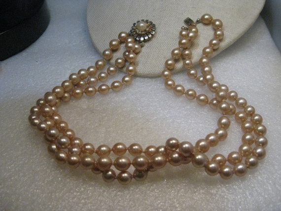 "Vintage Triple Strand Pearl Necklace, 7.5mm, Knotted, Blossom Box Clasp, 16.5"", Mid-Century"