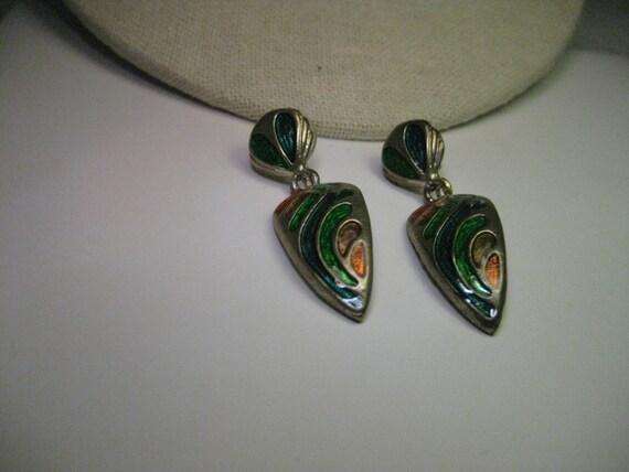 """Vintage Silver Tone Enameled Stud & Dangle Pierced Earrings - 1980's,  2"""" long"""