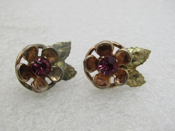Vintage  Gold Over Sterling Rhinestone Floral Earrings, Art Deco, 1940's-1950's