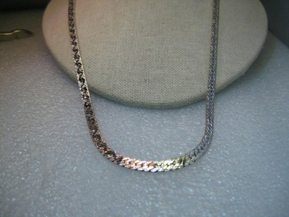 Vintage Silver Tone Trifari 5mm Herringbone Reversible Necklace, 24""