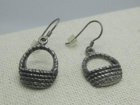 """Vintage Sterling Silver Basket Earrings, Pierced, 5.40 gr., 1.25"""", 1980's"""