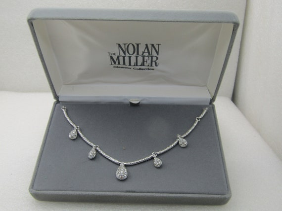 Vintage Nolan Miller Rhinestone Drop Necklace, Glamour Collection, Original Box, 18""
