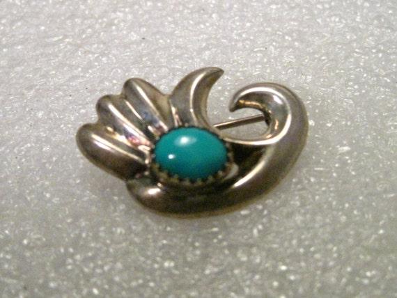 """Vintage Sterling Silver Southwest Turquoise Brooch, 1.25"""", Sawtooth Bezel Set"""