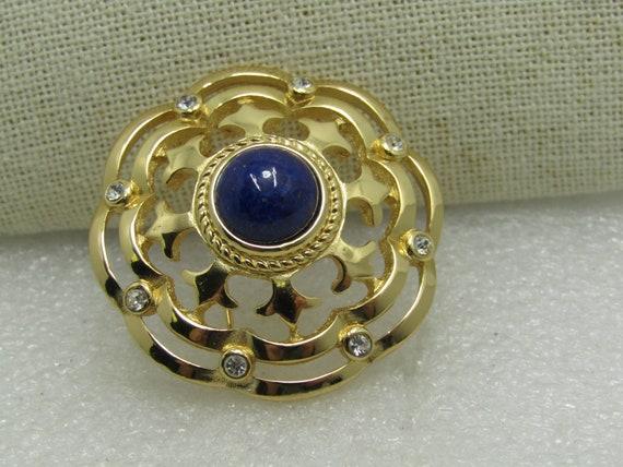 "Burberrys Blue Sundial Tiered Brooch, Fleur-de-Lis, Gold Tone, 1.75"""