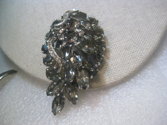 "Vintage Silver Tone Smokey Rhinestone Weiss Brooch, Art Deco, 2.75"" long"