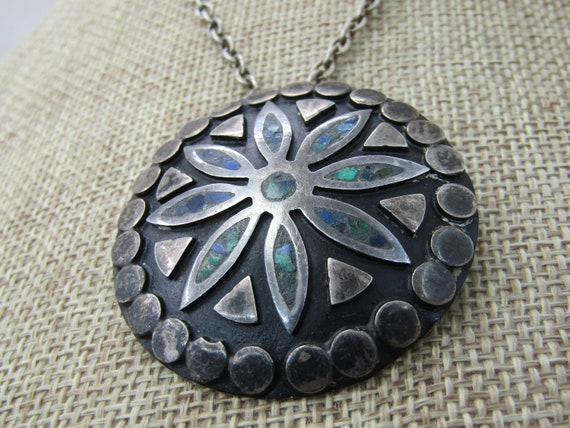 """Vintage Sterling Inlaid Mexican Brooch/Pendant Necklace 24"""""""