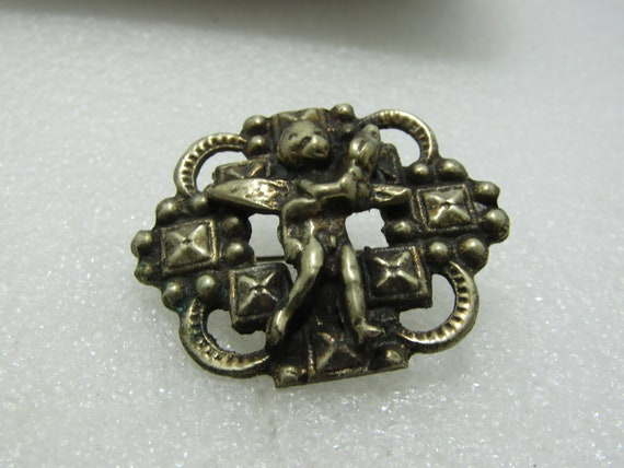 """Early 1900's Brass Angel Brooch, Solid, 1.75"""", 1910-1920's, C-Clasp"""