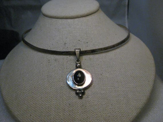 "Vintage Sterling Collar Necklace,  Onyx Slide, 16"", signed Mexico CII, 30.96gr."