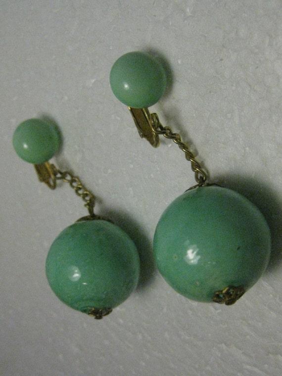 "Vintage 1940's-1960's Dangling Clip Earrings, 22mm  Mint Green Balls, Button Stud, filigree caps - 2.5"" long,  NICE"