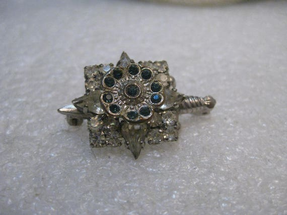 """Vintage 1940's Rhinestone Dagger Brooch with a Square, Star, Flower - Silver Tone, 1.25"""""""