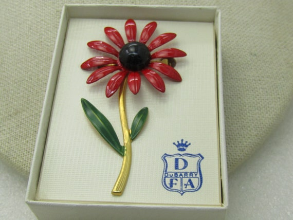 Vintage Dubarry Red Enameled Floral Brooch, Daisey, In Original Box, 1960's, 2.75""