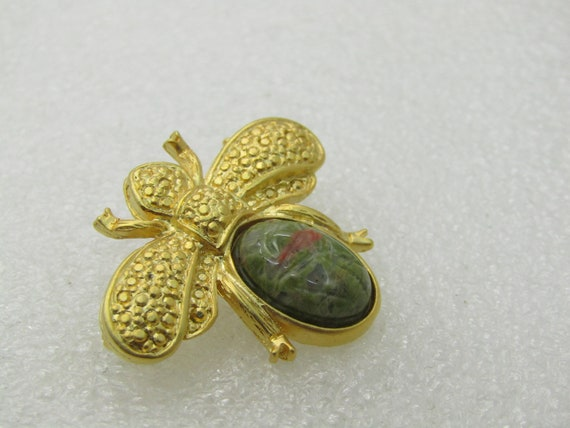 "Vintage Egyptian Scarab Beetle Brooch, Gold Tone, 1.25"" Wide"