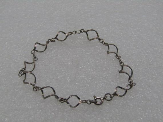 """Vintage Sterling Spiral Linked Bracelet - Open Link, Artisan Made, 7.5"""" 2.19 gr."""