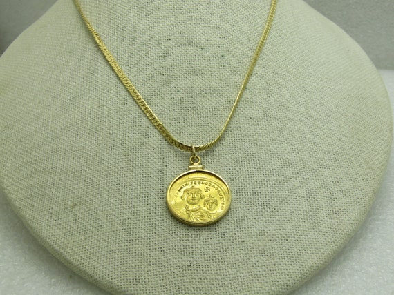 """Ancient Solid Gold Heraclius Coin Necklace, 22"""""""