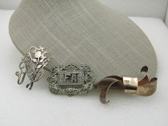 Vintage 3 Sterling Vintage Brooches, Money Clips, Repair or Repurpose