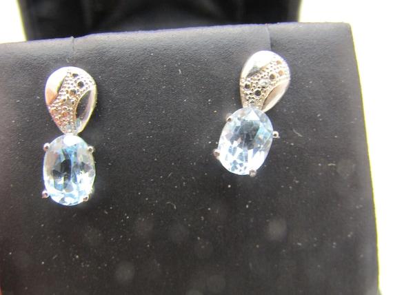 Sterling Silver Blue Topaz & Diamond  Pierced Earrings