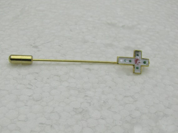 Vintage Enameled/Guilloche  Cross Stick Pin, Gold Tone, 1960's, 2.5""