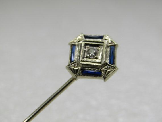 "Vintage 18kt White Gold Diamond Sapphire Stick Pin, Art Deco, 2.25"""