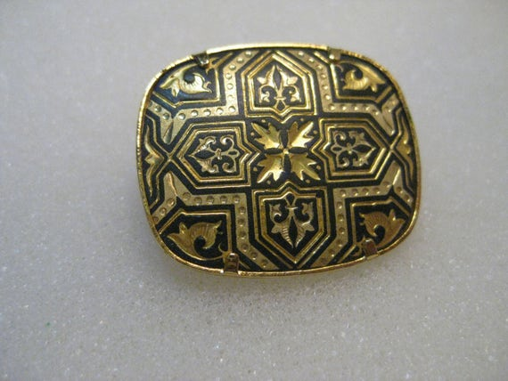 "Vintage Damascene Geometric Cross  Brooch, 1"" wide, BLack and Gold"