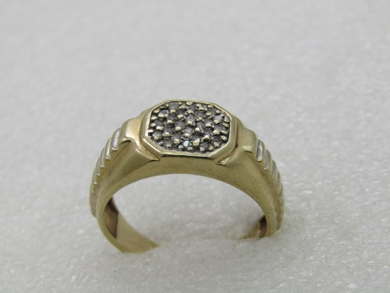 Vintage 10KT Men's Diamond Ring, 1950's-1960's, Sz. 10.75, Signed CI
