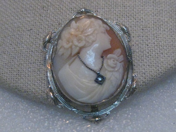 Vintage 14kt Diamond Cameo Brooch, 1920's-1930's Art Deco, 7.89 Gr., 1.75""