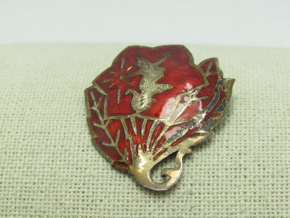 "Vintage Sterling Siam Red Brooch, Mekkala Goddess on Fan/Leaf, 1.5"", 6.19 gr., 1940's-1950's"