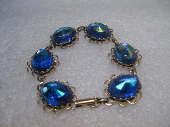 """Vintage Filigree Blue Rhinestone Bracelet, Aurora Borealis, 7.5"""""""