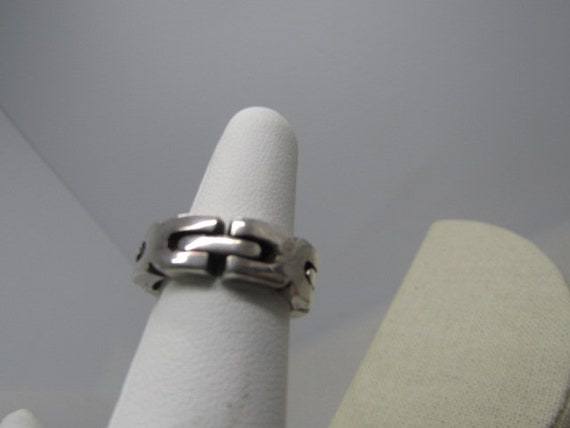 Vintage Sterling Biker Linked Ring,Size 6,  7mm wide, 10.68 grams, Mexico, articulated hinged links