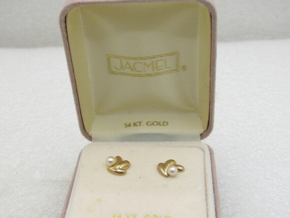 Vintage 14kt Gold Pearl Splash Earrings, Pierced, Jacmel, Vintage New in Box
