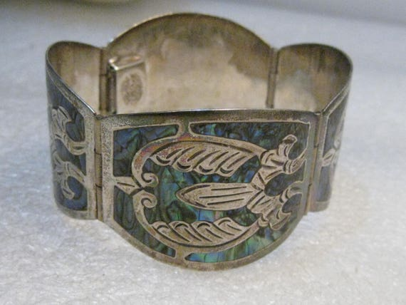 "Mexico Sterling 4 Panel Bracelet, Inlaid Abalone, 7"", 35.82 Grams, Signed TJB"
