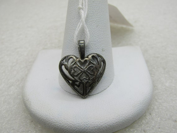 "Vintage Sterling Hearts within a Heart Pendant, 3/4"" and 5/8"" wide"