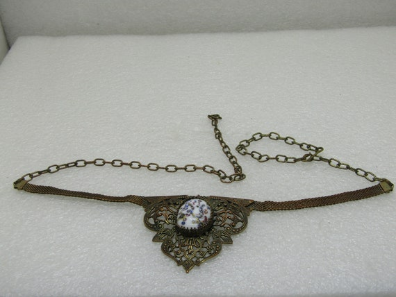 "Victorian Mesh Drop Necklace, 23"" Filigree & Porcelain Drop.  Brass"