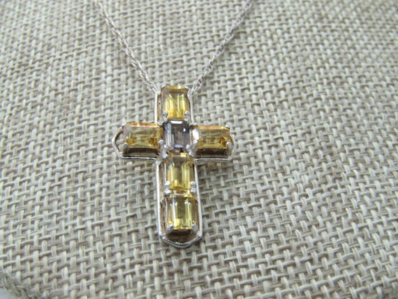 Vintage Sterling Silver Citrine Cross Necklace, Clyde Duneier CID, 18""