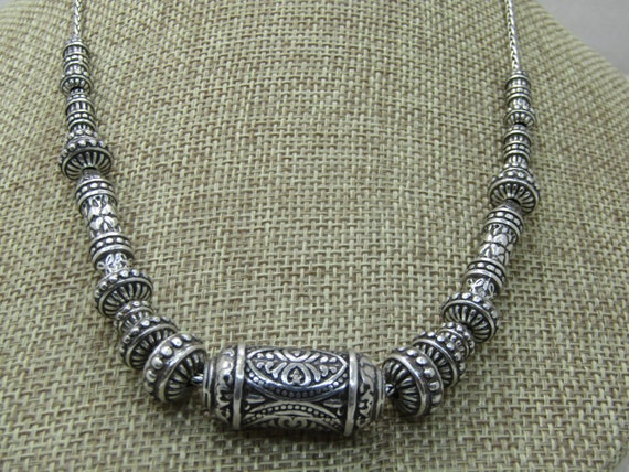 "Vintage Silver Scrolled Beaded Necklace, Brighton Style, 18"", Heart Lobster Clasp"