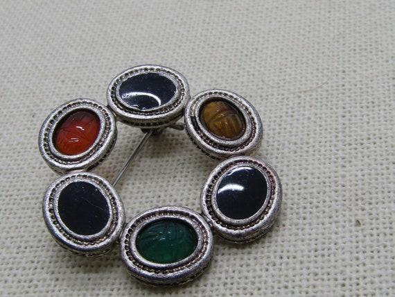 Vintage Scarab Circle Brooch, 1980's, Silver tone.